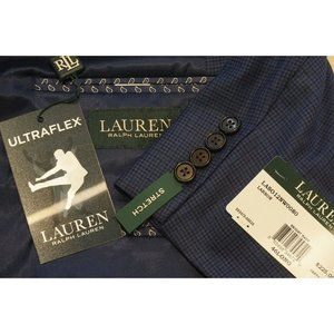 Lauren Ralph Lauren Larson Blue Plaid Stretch Ultr